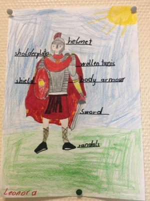 The kids labeled the roman soldier's armour.